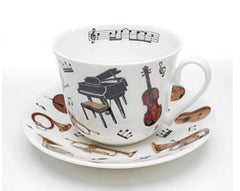 Roy Kirkham Keep Calm and Carry On Fine Bone China Musician's Concert Breakfast Cup & Saucer Set
