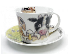 Roy Kirkham Please Shut the Gate 'Farm' Breakfast Cup & Saucer in Fine Bone China
