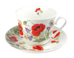 Roy Kirkham English Meadow Poppy Flower Breakfast Teacup and Saucer Set Fine Bone China
