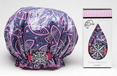Dry Divas Designer Shower Cap For Women - Washable, Reusable - Large Bouffant Cap With Vintage Jeweled Brooch (Ivy League)