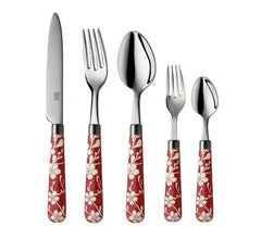 Quid Novi Flatware Fuji-Yama Collection - 10-Piece Stainless Steel Silverware Set Service for 2 - Red