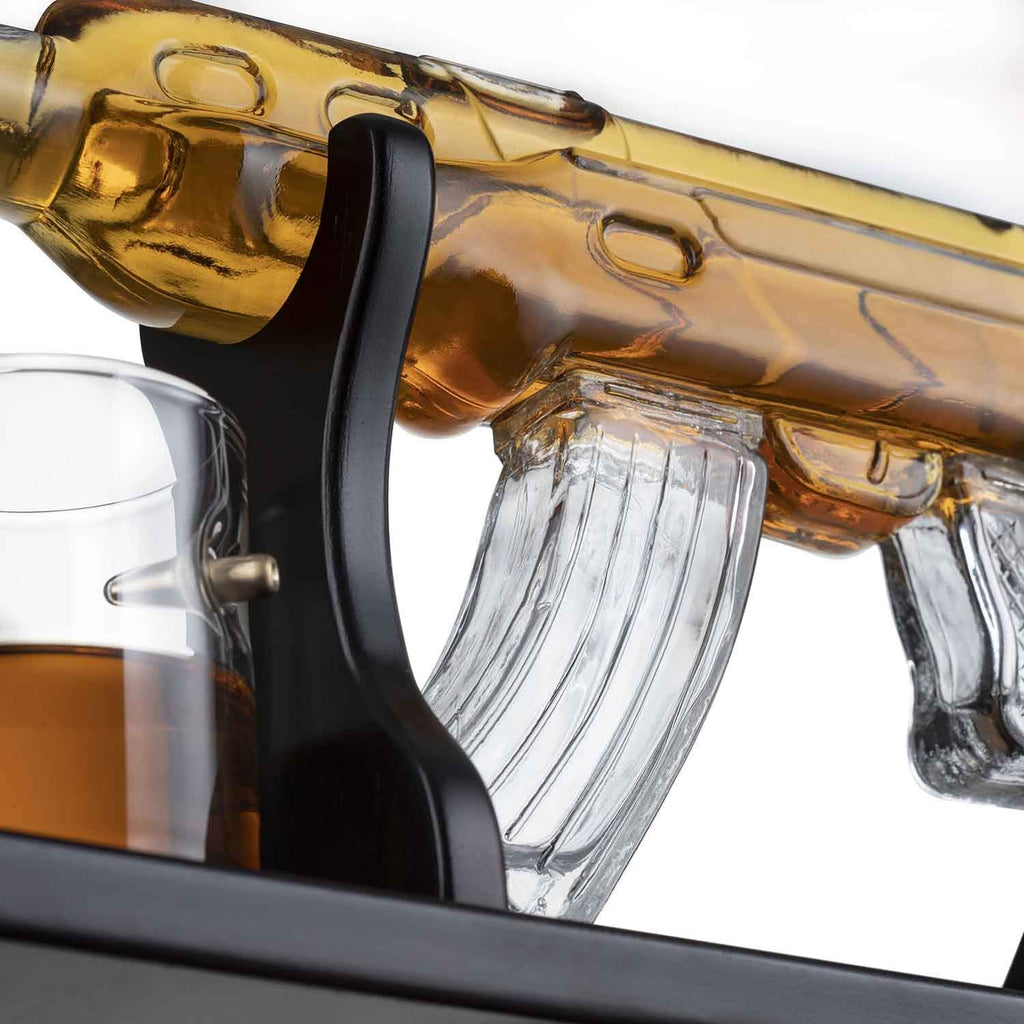 "The Wine Savant Gun Large Decanter Set Bullet Glasses - Limited Edition Elegant Rifle Gun Whiskey Decanter 22.5"" 1000ml With 4 Bullet Whiskey Glasses and Mohogany Wooden Base"