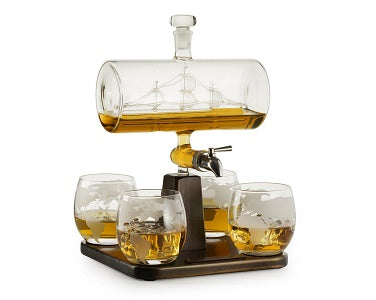 The Wine Savant Antique Ship Decanter Set