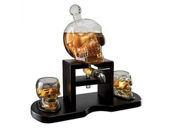 The Wine Savant Skull Whiskey Decanter Set With 2 Skull Glasses and mahogany Wooden Base