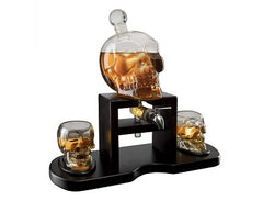 The Wine Savant Skull Whiskey Decanter Set With 2 Skull Glasses and mahogany Wooden Base The Wine Savant With Spigot