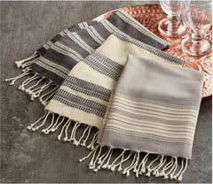 Tag Village Fringed Hand Towel S/3 Gray