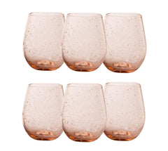 TAG Bubble Glasses 16 oz. Rose Stemless Wine Glass (6-Pack) Featuring The Wine Savant Wine Glass Cleaning Towel (7 Piece Bundle)