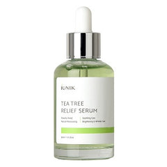 IUNIK Tea Tree Relief Serum with natural ingredients with tea tree & Centella & 6 sprout extract - Calm + Moisturizing + Skin trail Relief at once - 1.71 OZ