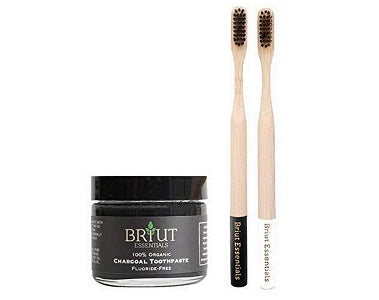 Briut Essentials Organic Charcoal Toothpaste - WITH TOOTHBRUSH - Activated Charcoal Toothpaste, NOT POWDER, 100% Organic, Peppermint, Includes Bamboo Toothbrush
