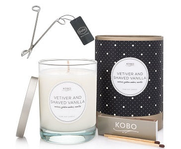 Kobo Candles Vetiver and Shaved Vanilla Candle and Gute Wick Cutter (2 Piece Bundle)