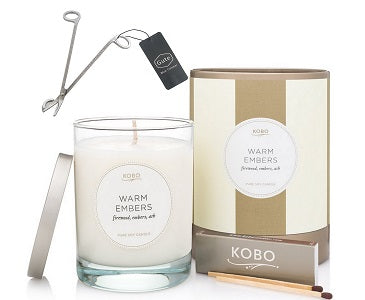 Kobo Candles Warm Embers Candle & Gute Wick Cutter (2 Piece Bundle)