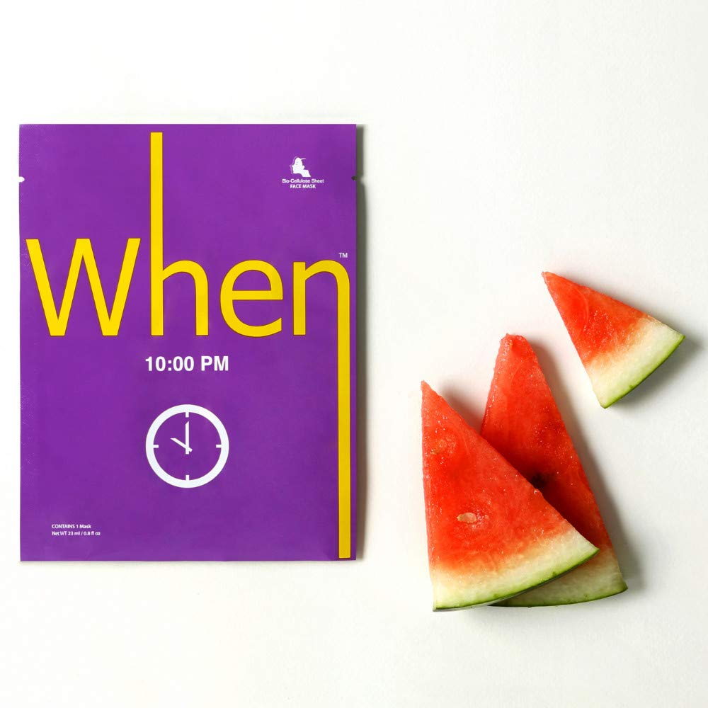 When 10pm Sheet Mask with Vitamin C & Watermelon extract for Night Time Recovery (4 set) Pack of 4