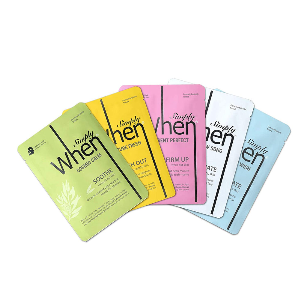 WHEN Skincare Simply When Fantastic 5 (Assorted Cotton Linter Masks 5-pack Set) Skincare Face Masks Sheets for Varying Skincare Benefits