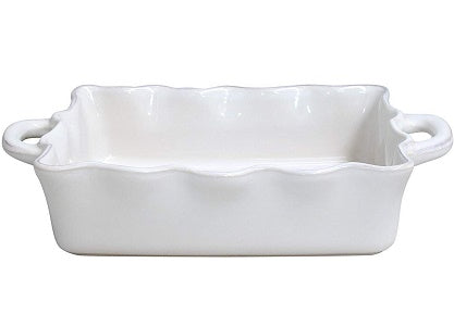 "Casafina Stoneware Ceramic Dish Cook & Host Collection Medium Rectangular Baker Casserole, (White) L11""xW8.5"""