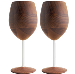 David Rasmussen Designs, Blasphemy Walnut Wine Glass, White Stem, Set of 2