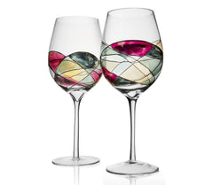 The Wine Savant Beautiful Hand Painted Wine Glasses Set of 2