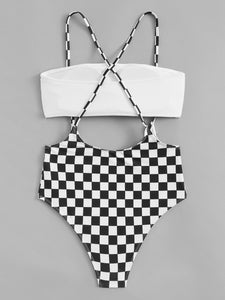 Atalanta Checkered Suspender Shorts