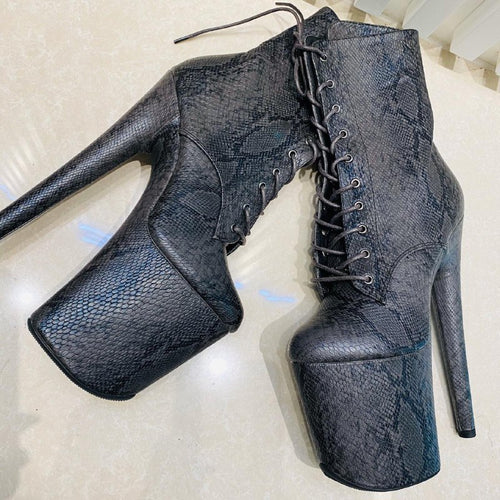 Snake Skin Textured Boots