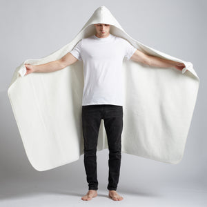 White Sherpa Hooded Blanket, Style #326