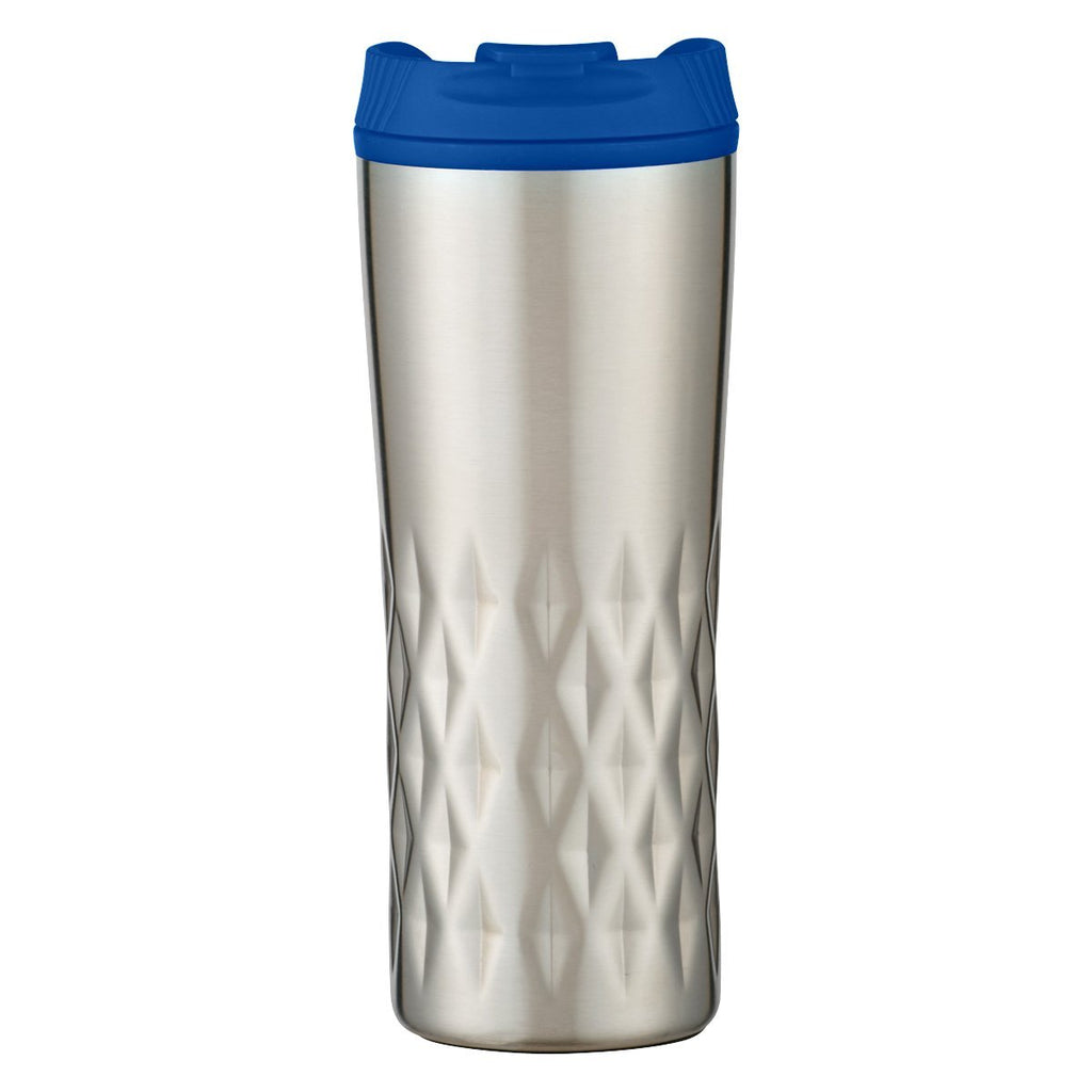 16 Oz. Diamond Stainless Steel Tumbler Drinkware Hit Promotional Products Silver With Black