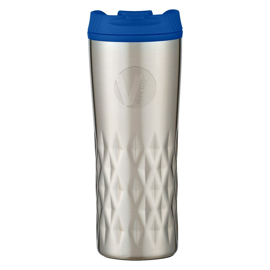 16 Oz. Diamond Stainless Steel Tumbler Drinkware Hit Promotional Products Silver With Blue