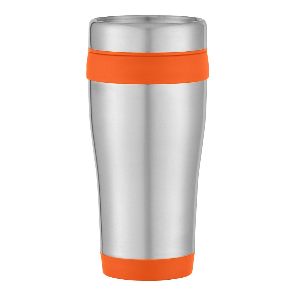 15 Oz. Aspen Stainless Steel Tumbler Drinkware Hit Promotional Products Silver With Orange