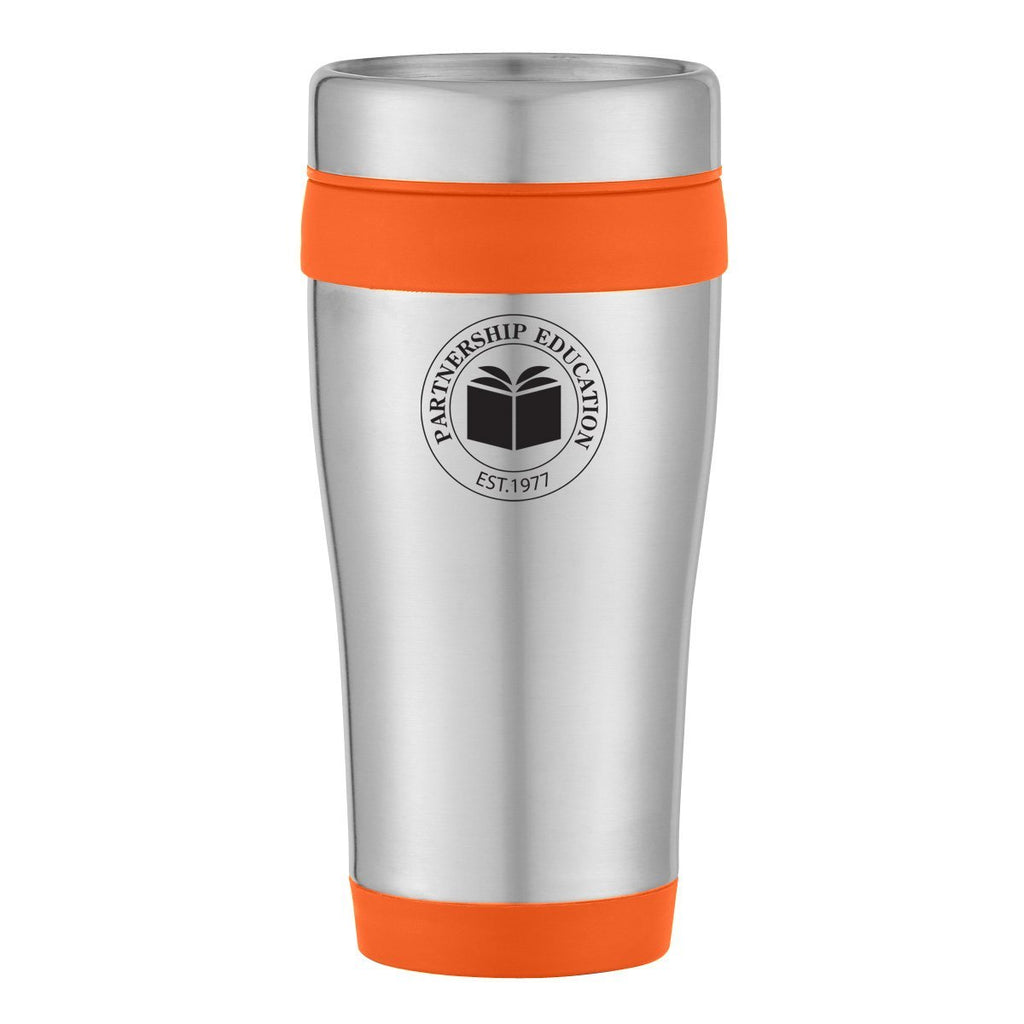 15 Oz. Aspen Stainless Steel Tumbler Drinkware Hit Promotional Products Silver With Blue