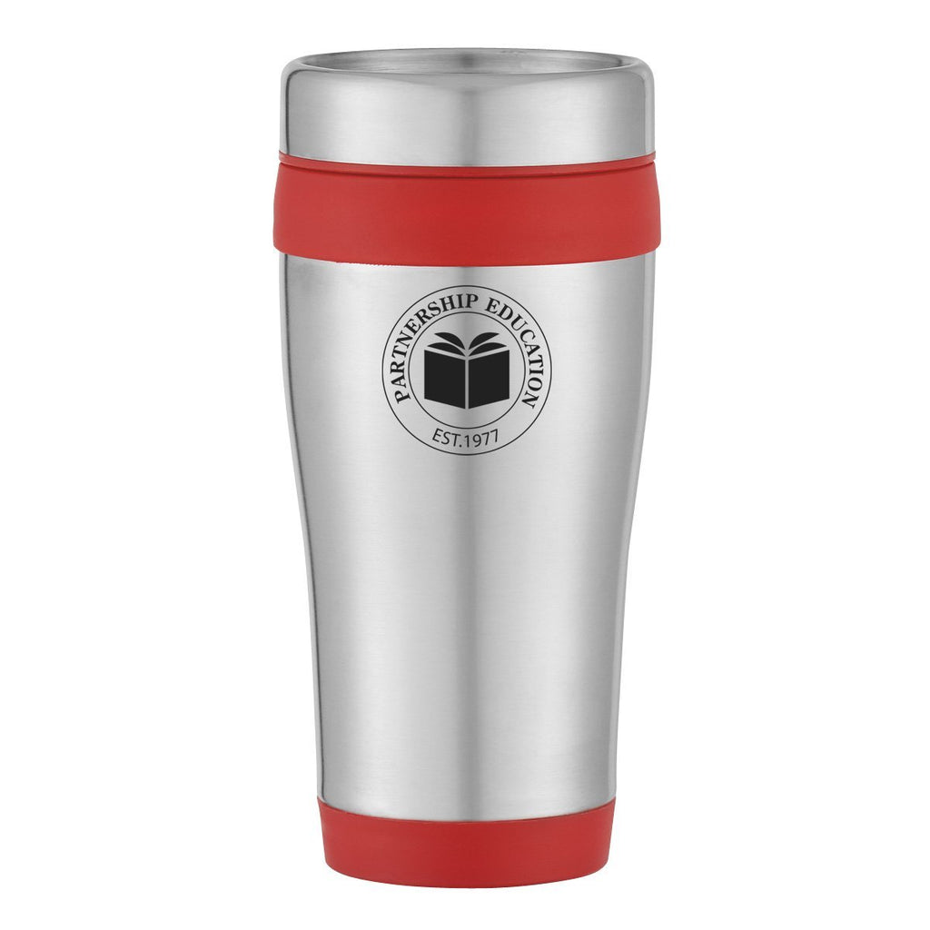 15 Oz. Aspen Stainless Steel Tumbler Drinkware Hit Promotional Products Silver With Green