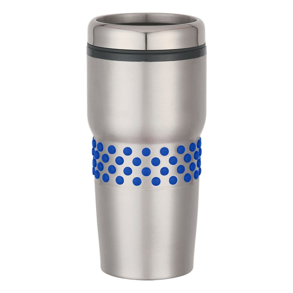 16 Oz. Stainless Steel Tumbler With Dotted Rubber Grips Drinkware Hit Promotional Products Silver With Black