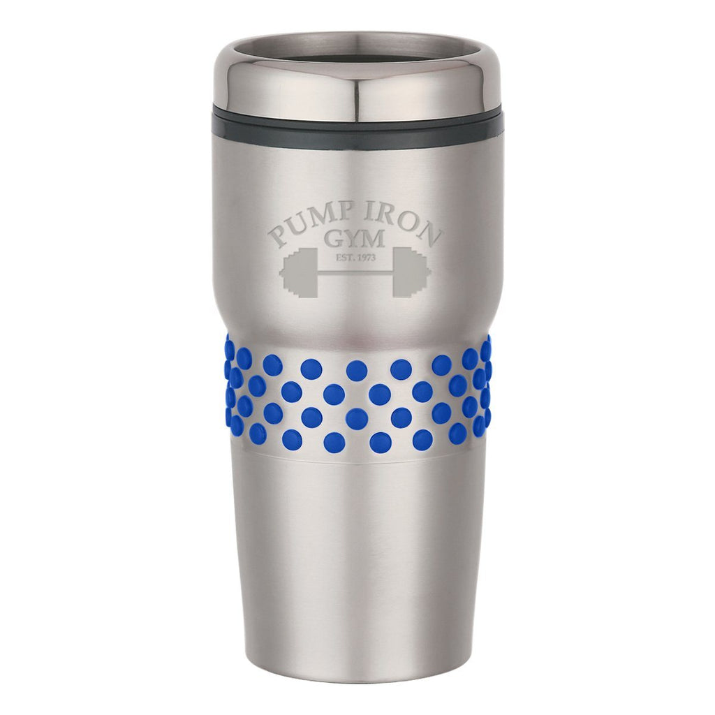 16 Oz. Stainless Steel Tumbler With Dotted Rubber Grips Drinkware Hit Promotional Products Silver With Blue