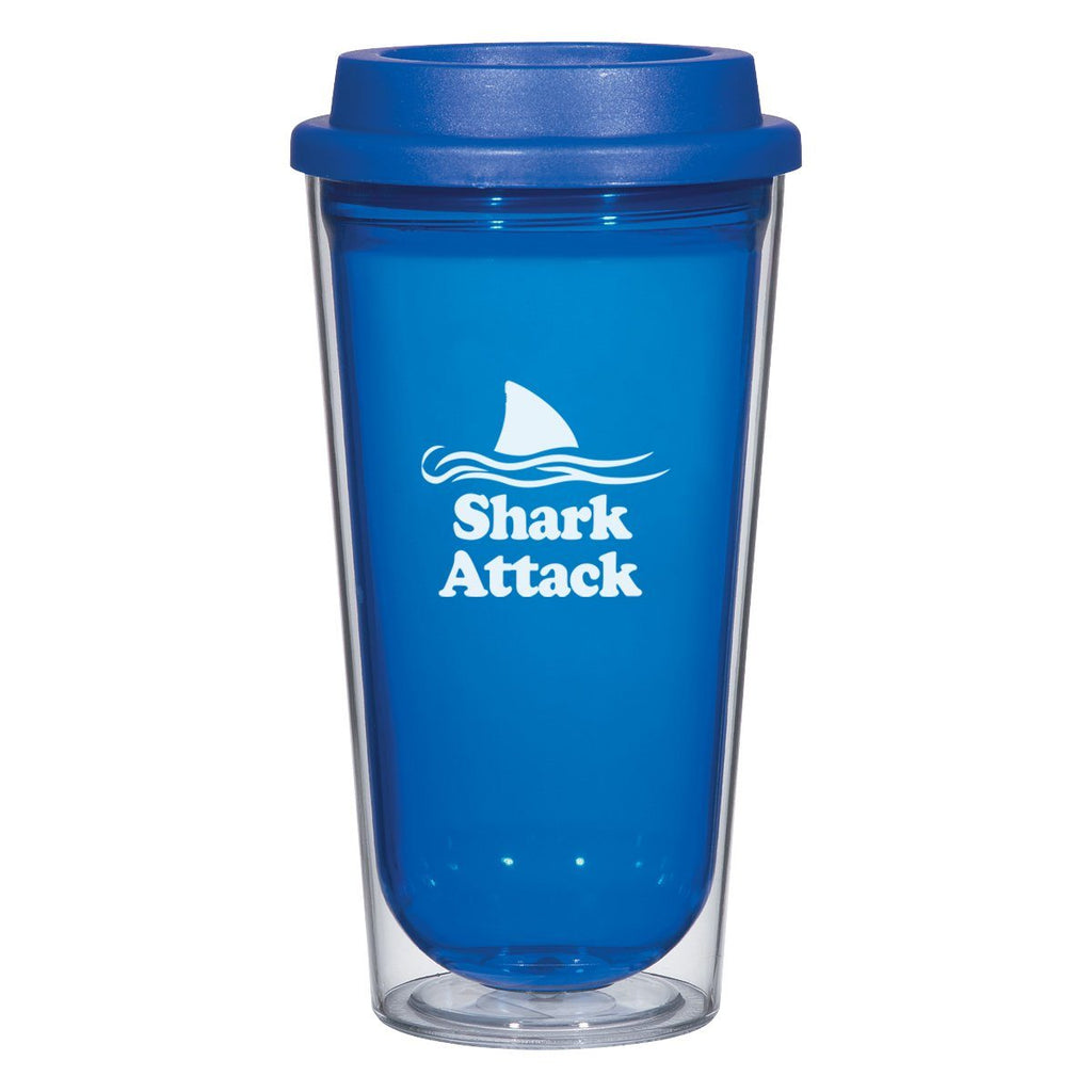16 Oz. Echo Tumbler Drinkware Hit Promotional Products Clear With Blue