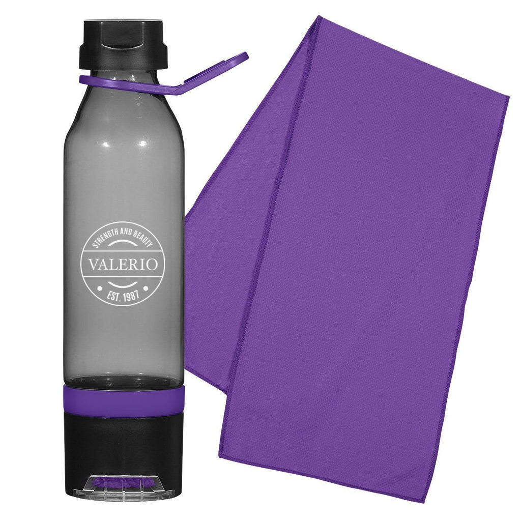 15 Oz. Energy Sports Bottle With Phone Holder and Cooling Towel Leisure & Outdoor Hit Promotional Products Charcoal With Purple