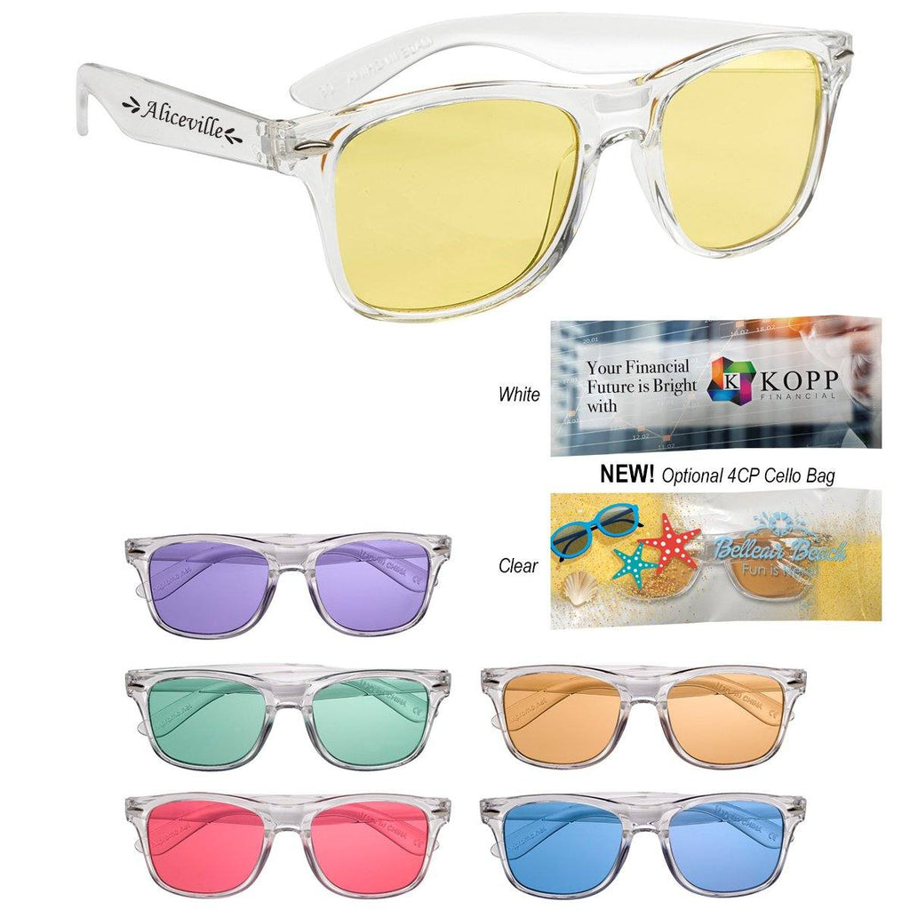 Crystalline Malibu Sunglasses Sunglasses Hit Promotional Products Clear With Orange