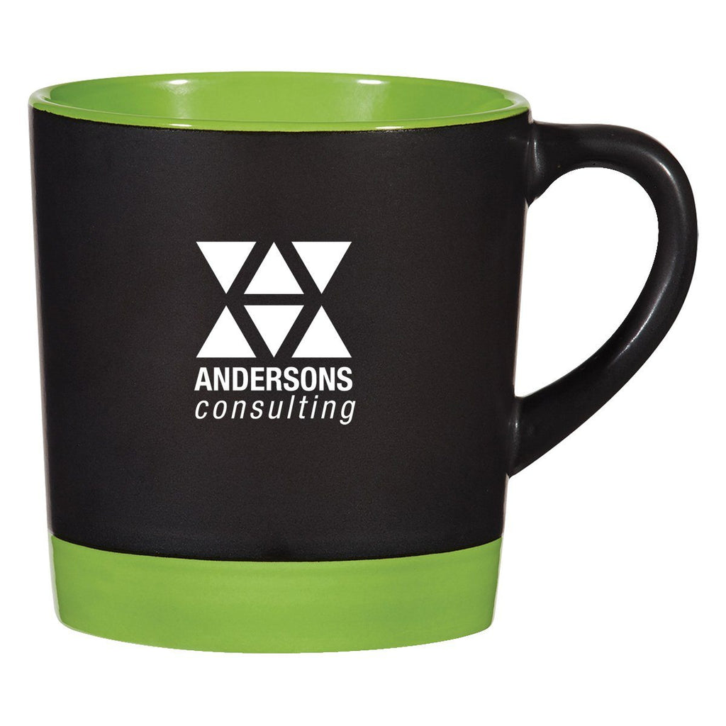 12 Oz. Two-Tone Americano Mug Ceramic Mugs Hit Promotional Products Black With Lime