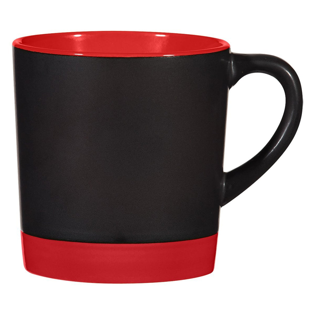 12 Oz. Two-Tone Americano Mug Ceramic Mugs Hit Promotional Products Black With Red