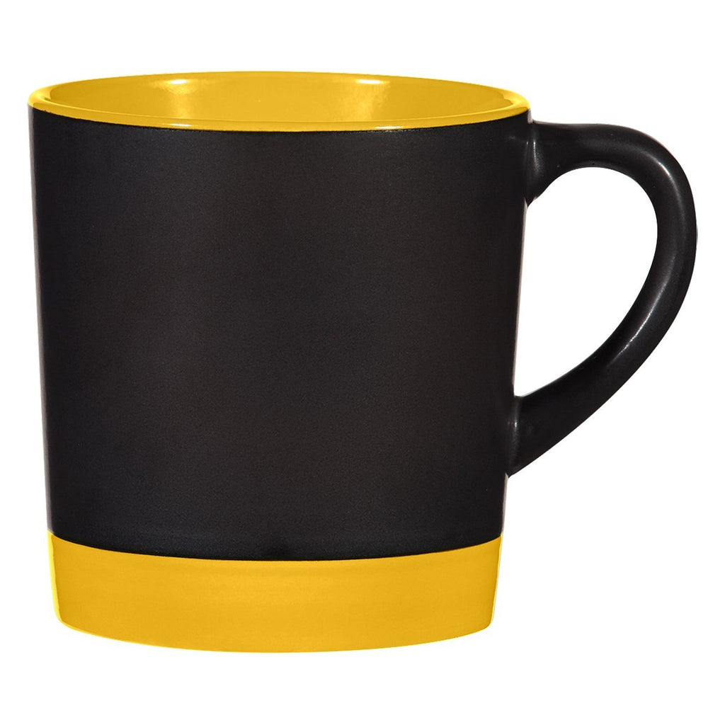 12 Oz. Two-Tone Americano Mug Ceramic Mugs Hit Promotional Products Black With Yellow