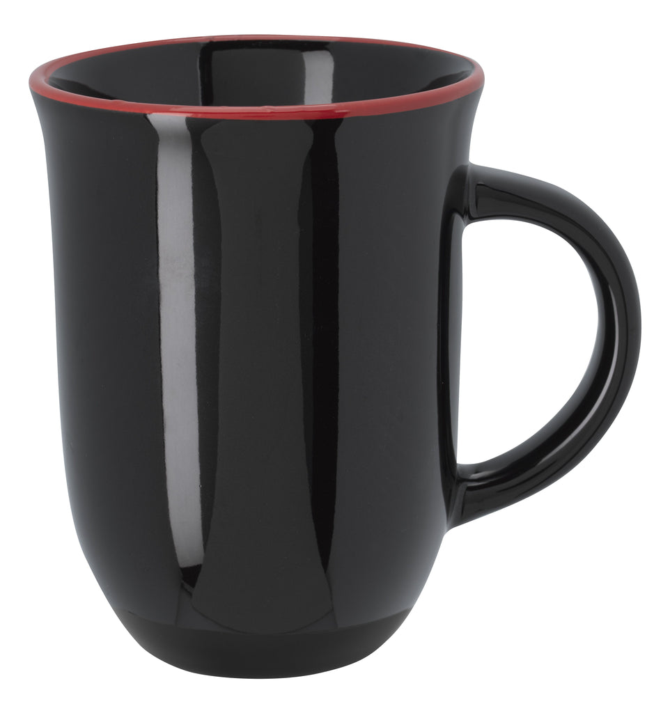 12 Oz. Vienna Ceramic Mug Ceramic Mugs Hit Promotional Products Black With Red