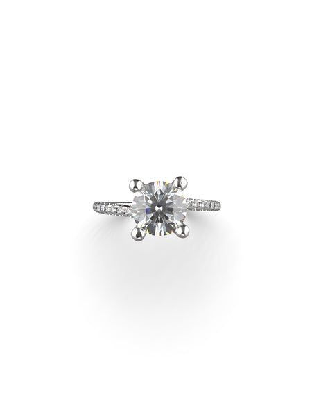 14K WHITE GOLD ROUND BRILLIANT DIAMOND RING