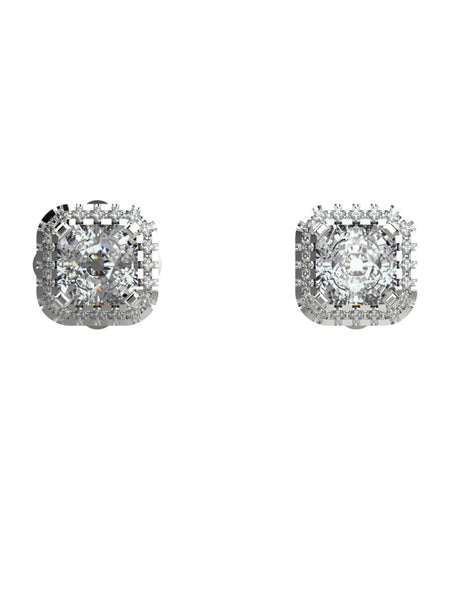 14K WHITE GOLD CUSHION CUT DIAMOND STUDS EARRINGS - araojewelry