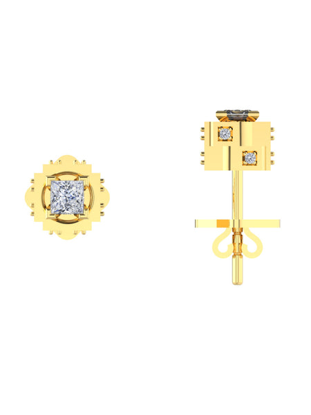 14K YELLOW GOLD PRINCESS BRILLIANT DIAMOND STUD EARRINGS - araojewelry