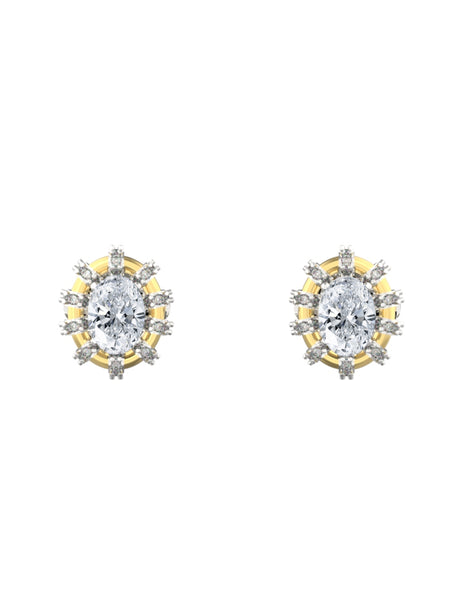 14K WHITE & YELLOW GOLD OVAL BRILLIANT DIAMOND STUD EARRINGS - araojewelry