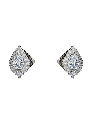 14K WHITE GOLD PEAR BRILLIANT DIAMOND STUD EARRINGS - araojewelry