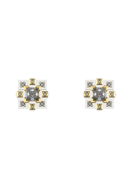 14K WHITE & YELLOW GOLD PRINCESS CUT DIAMOND STUD EARRINGS - araojewelry