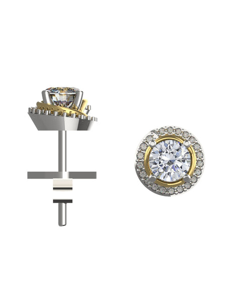 14K WHITE & YELLOW GOLD ROUND BRILLIANT DIAMOND STUD EARRINGS - araojewelry