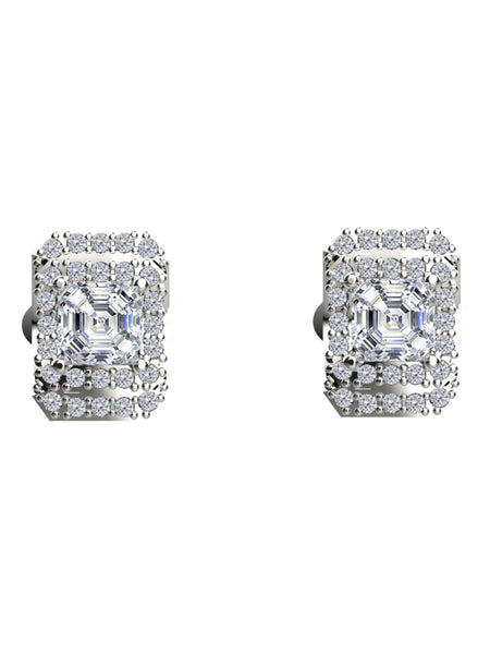 14K WHITE GOLD ASSCHER CUT DIAMOND STUD EARRINGS - araojewelry