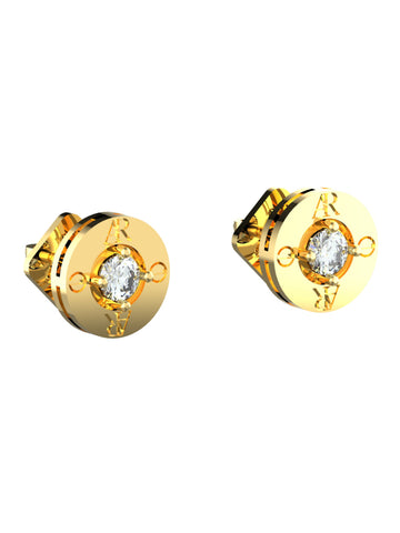 14K YELLOW GOLD AR SOLITAIRE EARRINGS - araojewelry