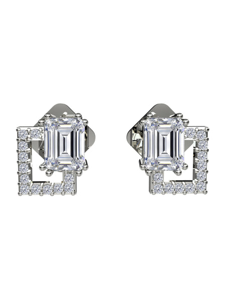 14K WHITE GOLD EMERALD CUT DIAMOND STUD EARRINGS - araojewelry