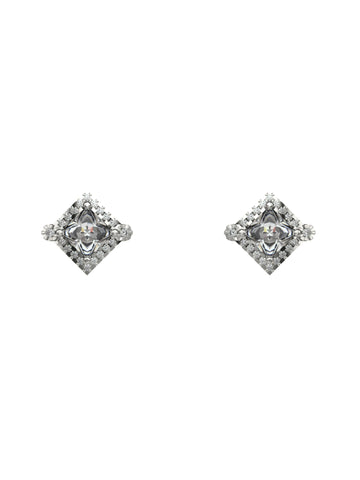 14K WHITE GOLD PRINCESS CUT DIAMOND STUD EARRINGS - araojewelry