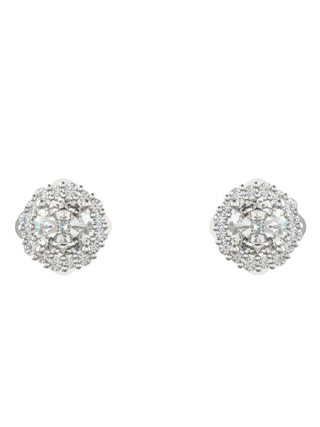 14K WHITE GOLD ROUND BRILLIANT DIAMOND STUD EARRINGS - araojewelry