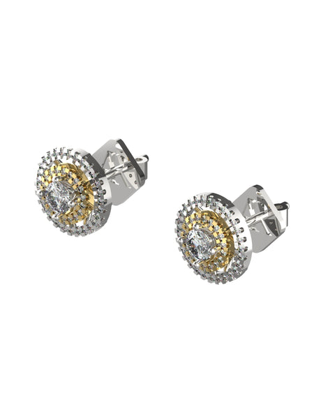 14K WHITE YELLOW GOLD ROUND BRILLIANT DIAMOND STUD EARRINGS - araojewelry